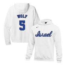 Load image into Gallery viewer, Youth Jeremy Wolf Name and Number NIKE® Hoodie - Blue, White