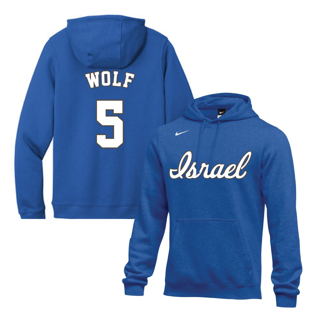 Youth Jeremy Wolf Name and Number NIKE® Hoodie - Blue, White