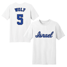 Load image into Gallery viewer, Men's Jeremy Wolf Name and Number T-Shirt - Blue, White