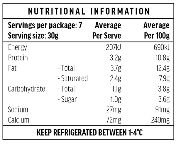 Smoked Ricotta Nutritional Information