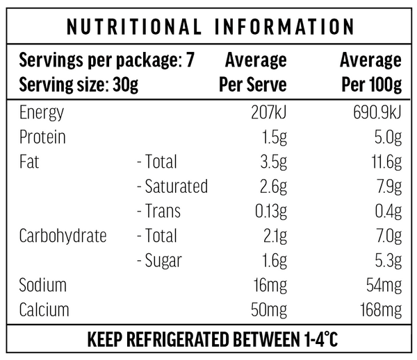 Smoked Yoghurt Nutritional Information