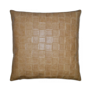 camel textured faux leather pillow