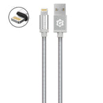 Cable Lightning (iPhone) Plateado Premium Braided