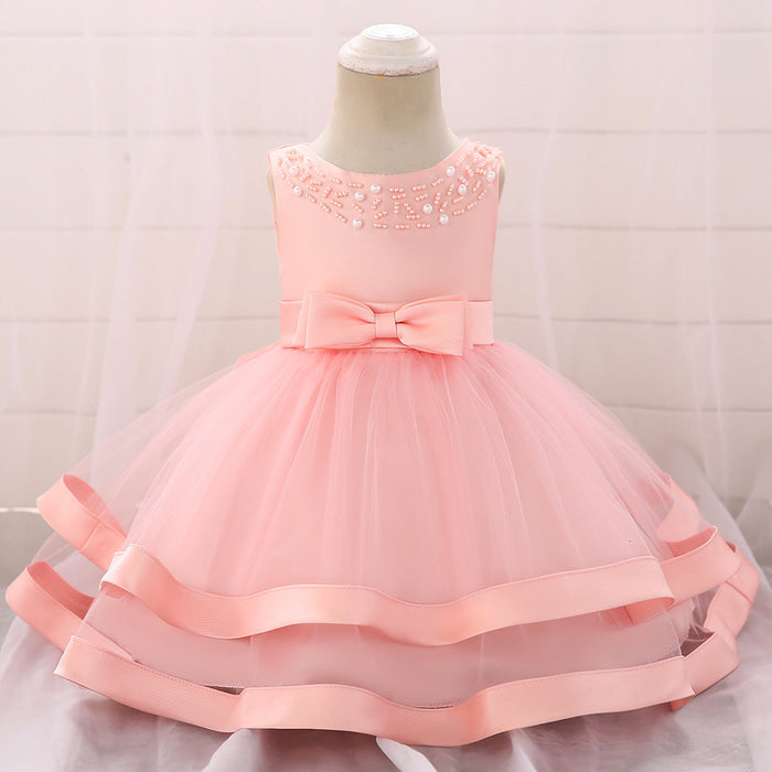 Bow princess net yarn baby dress