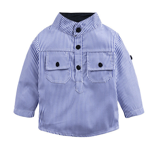 Baby Boy Handsome boy blue striped shirt denim overalls suit
