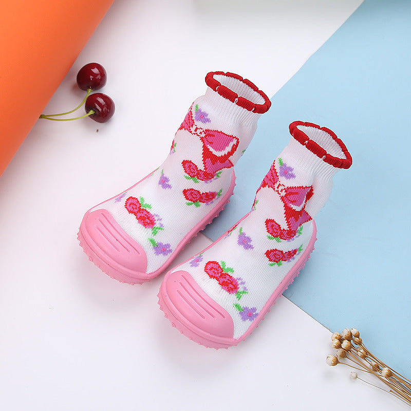 Crochet Knitted Baby Girl Cherry Bow Cartoon Booties