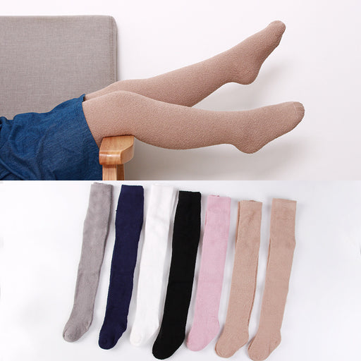 Knit Crochet Terry Thickening Coral Fleece Pantyhose Baby Leggings