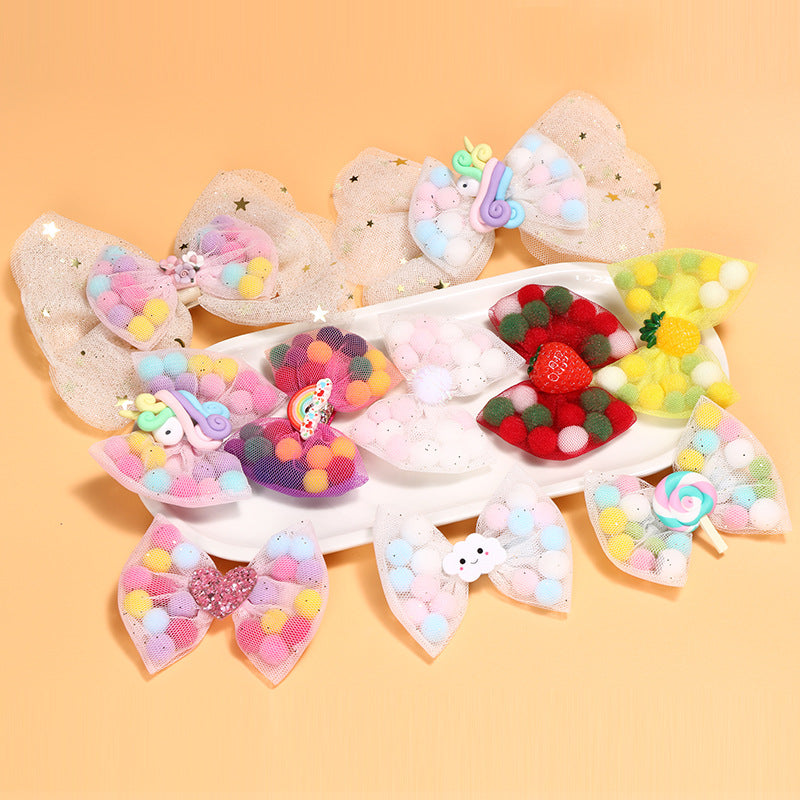 Bowknot mesh hairpin female baby cute unicorn side clip cartoon lollipop children hairpin