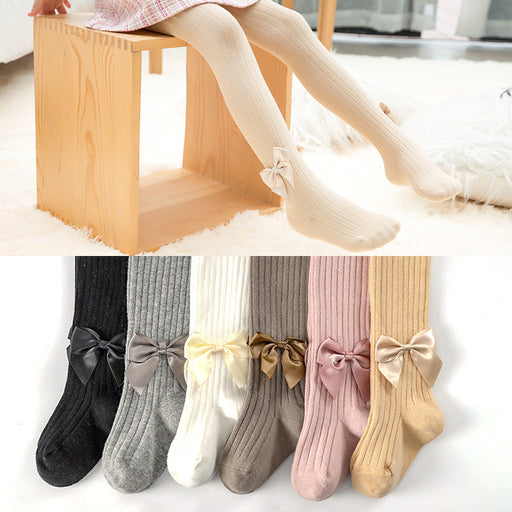 Knit Crochet Vertical Bow Pantyhose Baby Leggings