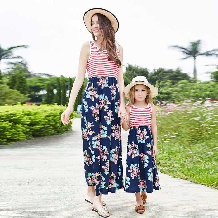 Mommy And Daughter Dresses - Stripe hot style