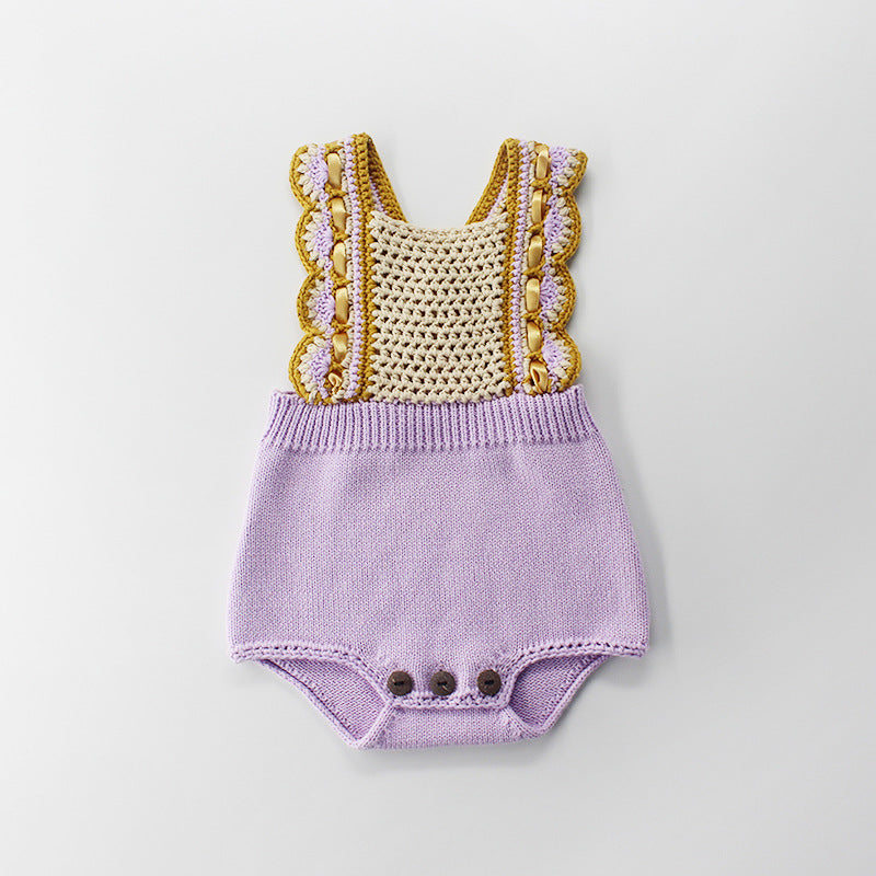 Baby Infant Hand Hook Strap Knitted Woolen Purple Jumpsuit