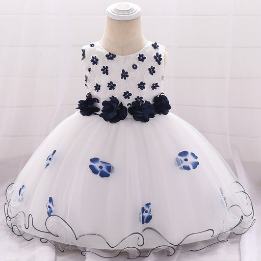 Flower bead wash dress ins princess wedding photography baby full moon dress