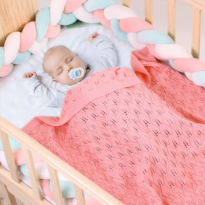 Baby blanket knitted leaves hollowed out blanket baby windproof cover quilt cover blanket lunch break blanket