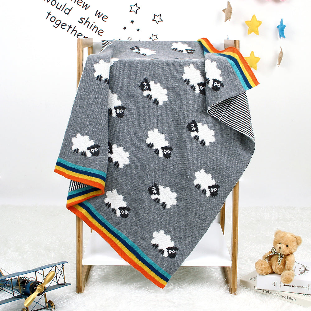 Infants and children four seasons knitted wrap towel children sheep hug blanket baby stroller cover is knitted air conditioning quilt