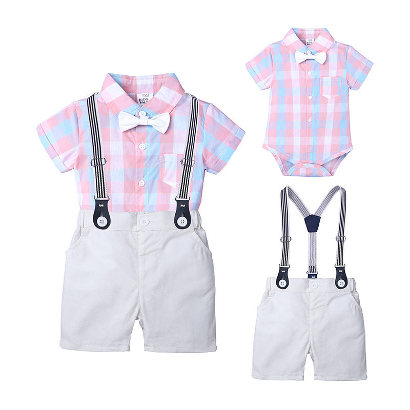 Summer boy gentleman dress plaid bow tie robe short-sleeved jumpsuit straps shorts suit