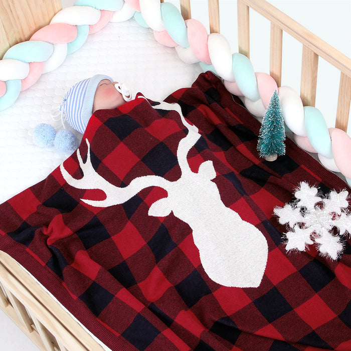Christmas New Elk Plaid Knitted Blanket Newborn Infant Holder Woolen Knitted Air Conditioning Blanket