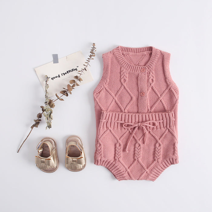 Knitted Maxi Waistcoat With Lace-up Knitted Shorts Set