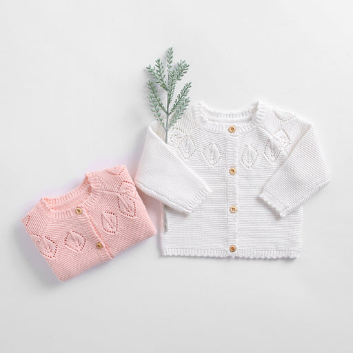 Sweet Pure Color Leaf Cotton Knit Baby Sweater