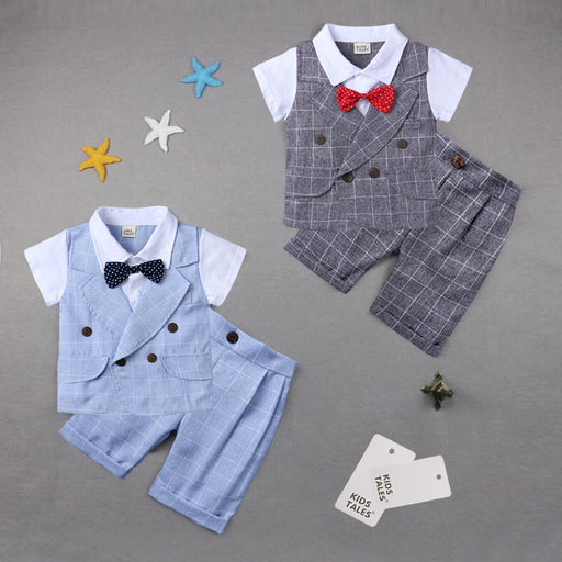Children's clothing summer plaid gentleman bow tie suit