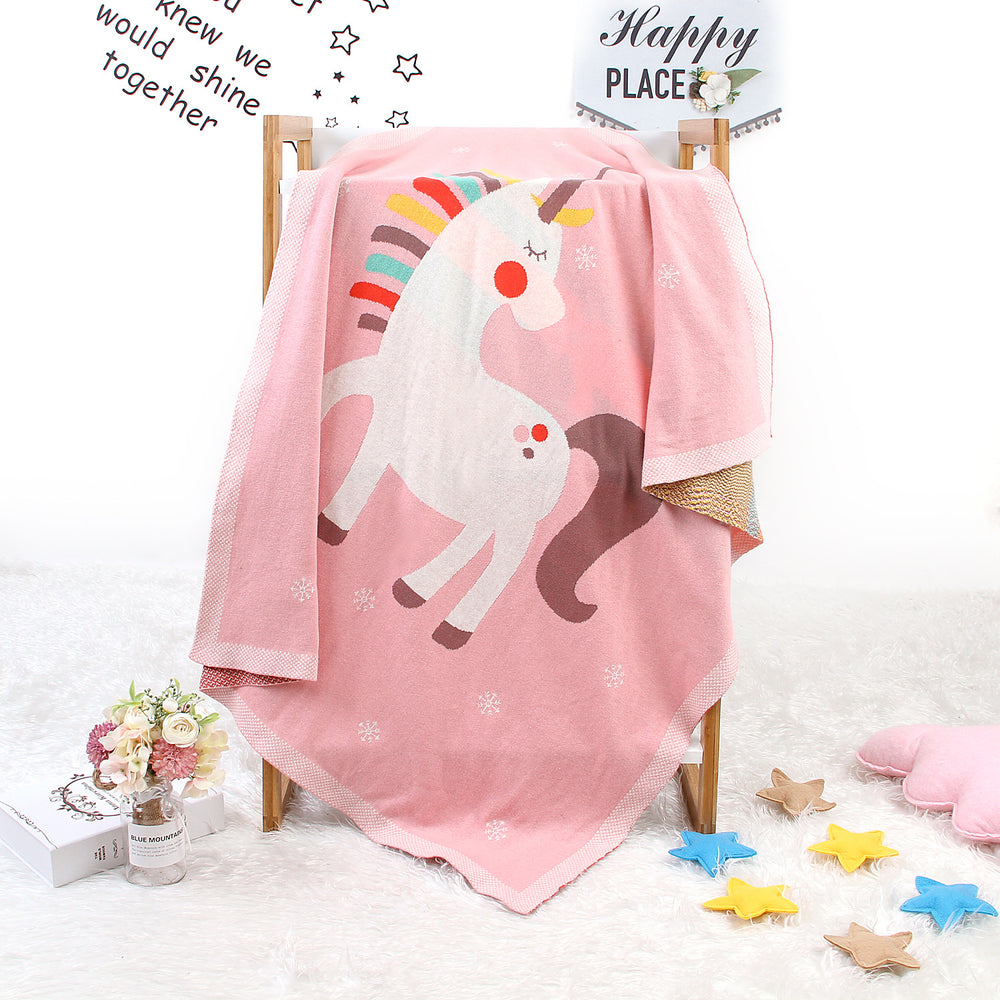 Baby holding blanket cute unicorn blanket air conditioning blanket children knitted cover blanket