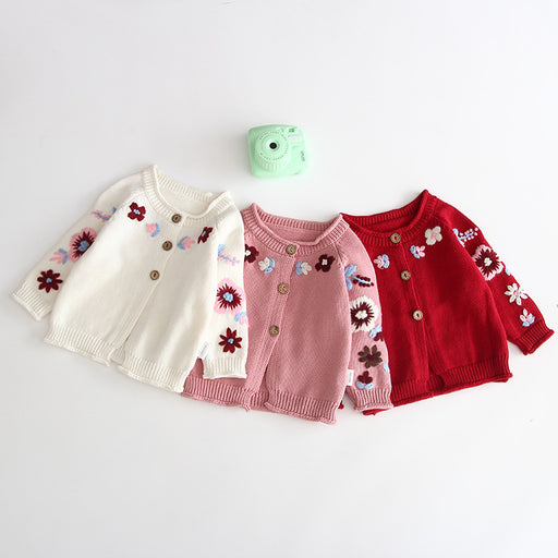 Floral Knit Cardigan Button Sweater Baby Girl Top
