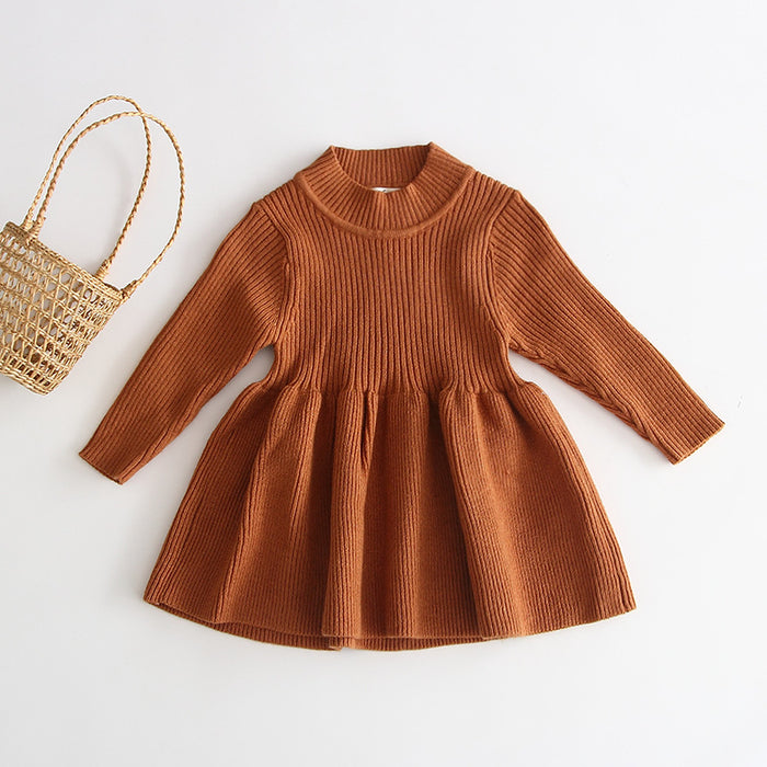 Princess Knitted Wool Dress Girl Baby Long-sleeve Skirt