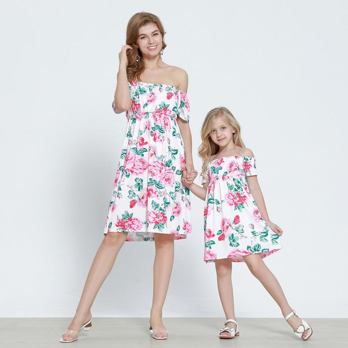Mommy And Daughter Dresses - Printed flounces