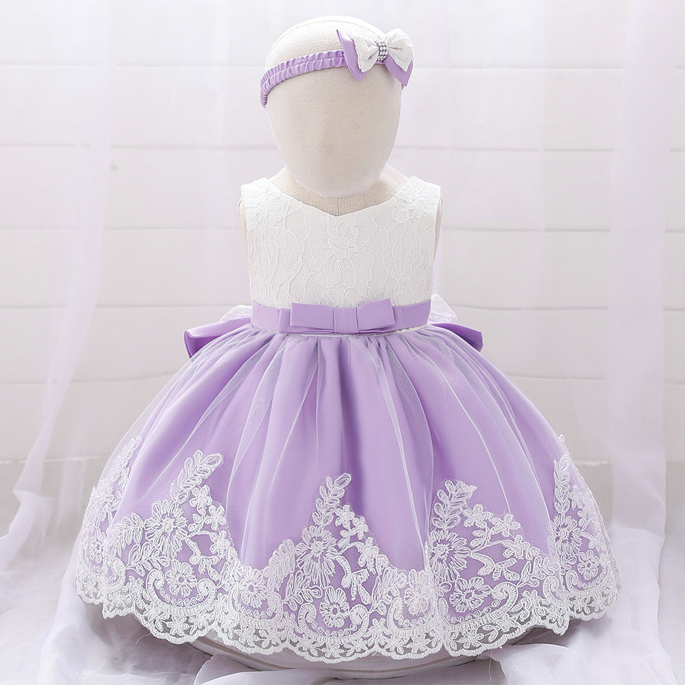 One year old full moon net yarn bow baby dress skirt