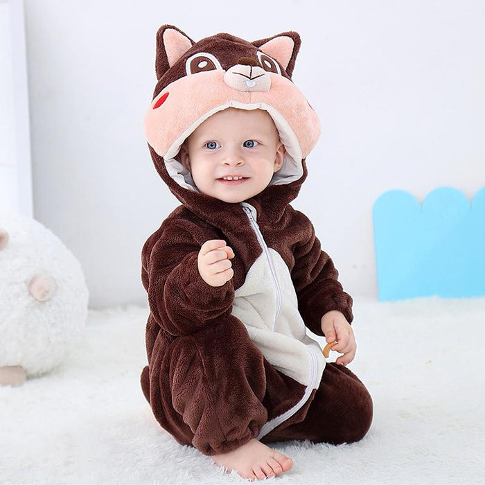 Funny Squirrel Animal warm flannel Baby Onesie
