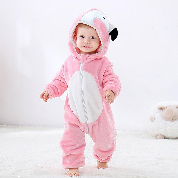 Funny Bear pajamas flannel romper cartoon suit Baby Onesie