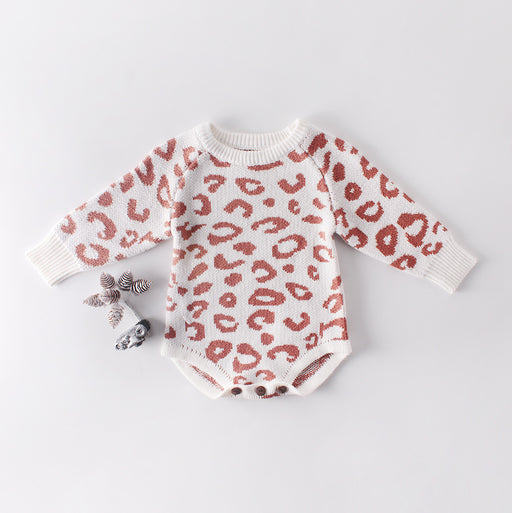 Baby Girl Sweater Leopard Print Round Neck Long Sleeve Jumpsuit