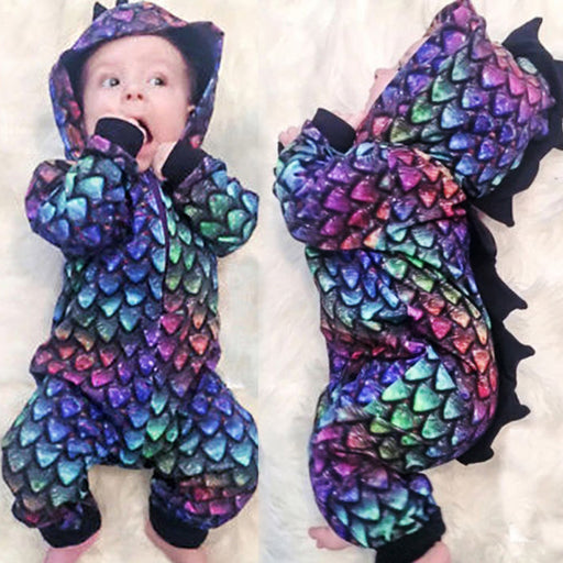 Boy Dinosaur Shaped Hooded Long-Sleeve Jumpsuit