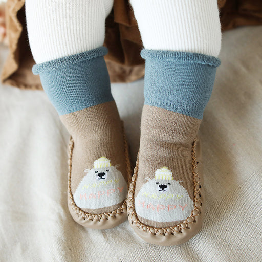 Baby Crochet Knit Terry Thickening Socks Non-slip Toddler Shoes