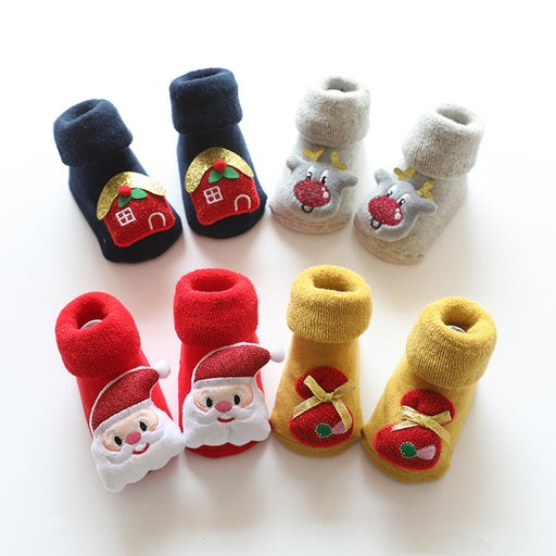 Baby Crochet Knit Terry Thickening Christmas Non-slip Toddler Socks