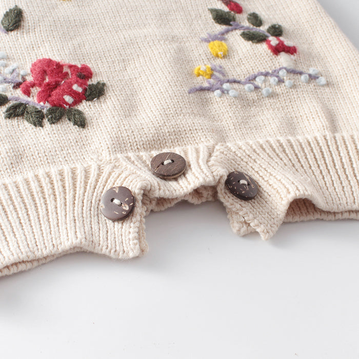 Squirrel Hand-embroidered Baby Knitting Wool Jumpsuit