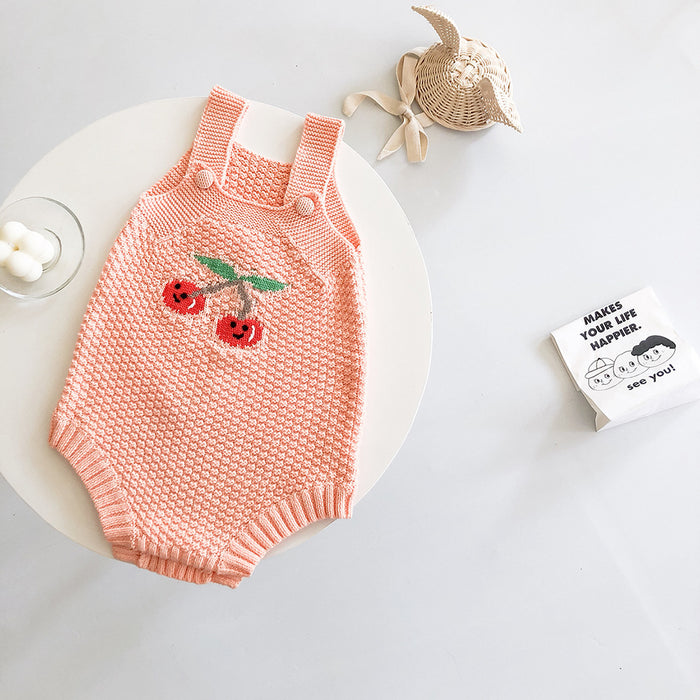 Knitted fruit jumpsuit for babies and infants