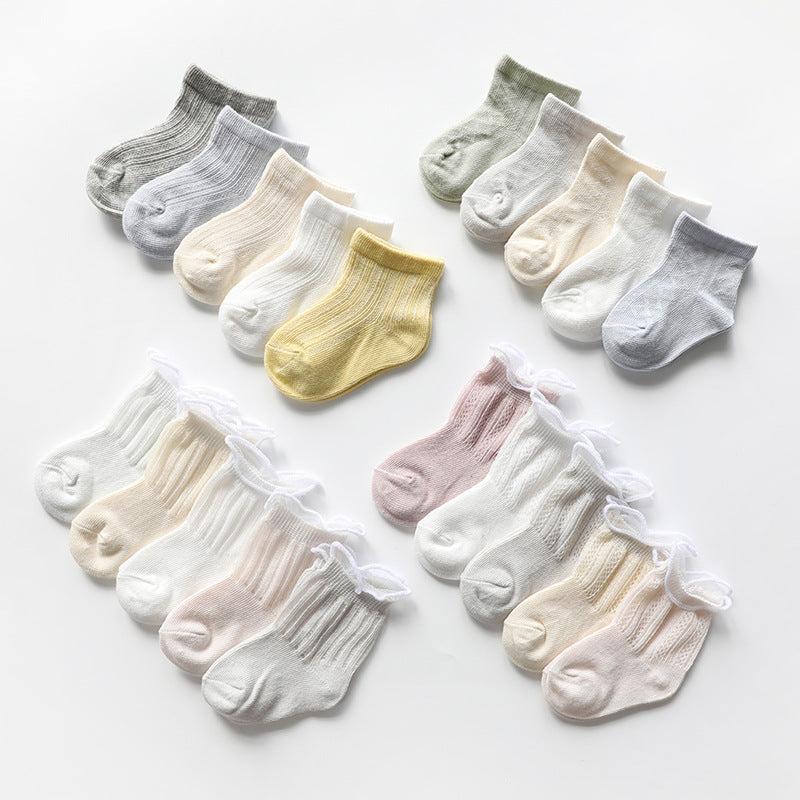 Mesh Thin Cotton Middle Tube Loose Baby Knit Socks