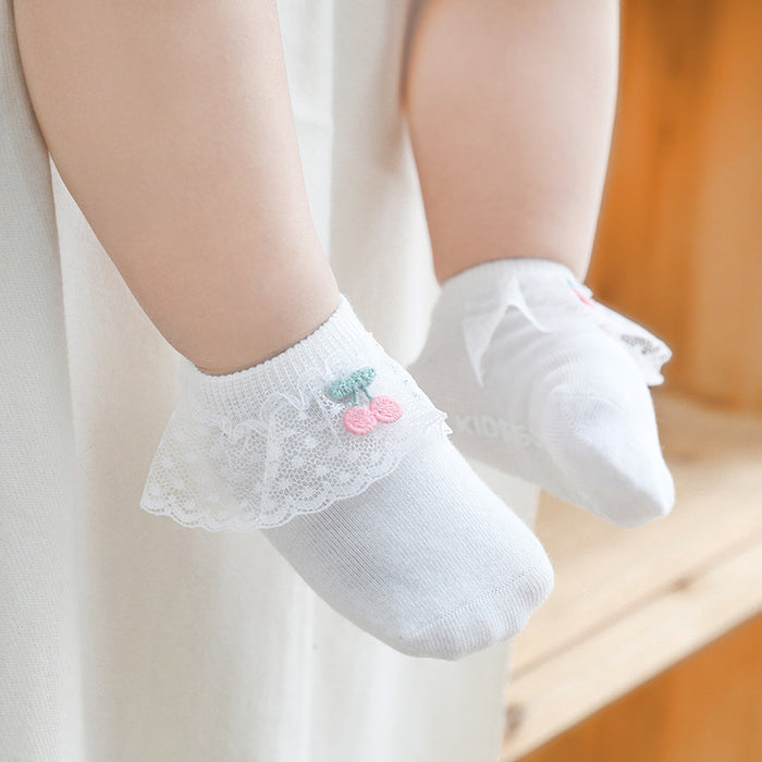 Baby Crochet Knit Cherry Bud Silk Non-slip Toddler socks