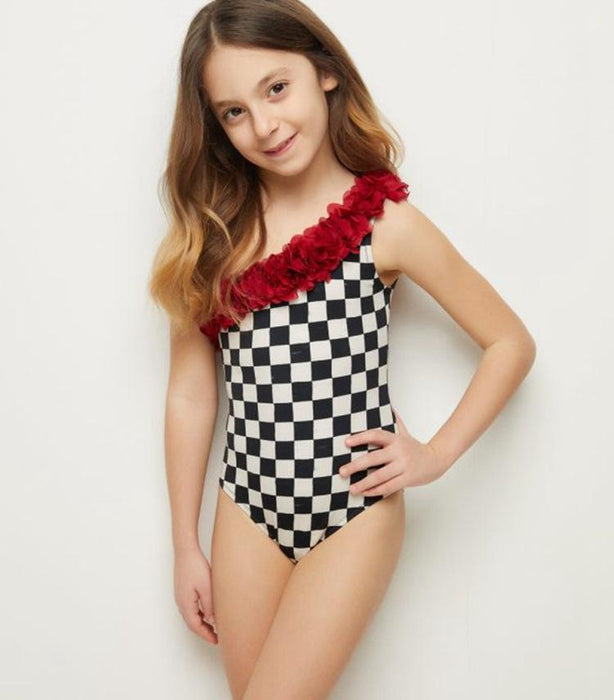 Mommy And Me Swimwear - One shoulder triangular conjoined child square