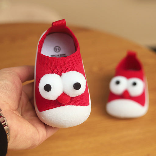 Crochet Knitted Baby Begin To Walk Rolling Eyes Red Sneaker