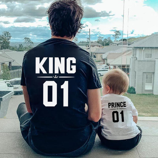 Mommy & Me Outfit ,Parent-child  King Queen01 couple short-sleeved T-shirt