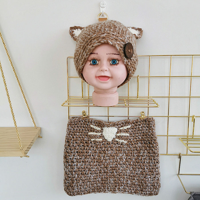 Hand-crocheted Knitting Newborn Button Cat Hat Neck Collar Photography Suit