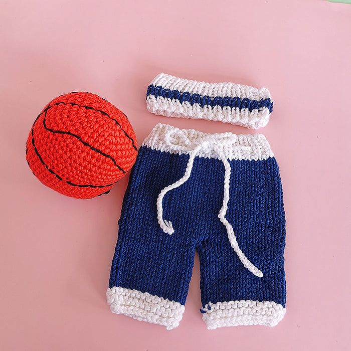 Hand-crocheted Knitting Newborn  Three-piece Basketball Set Photography Suit