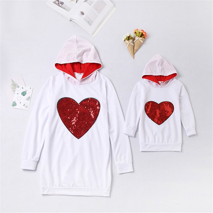 Mommy And Me Hoodies - Sequins heart