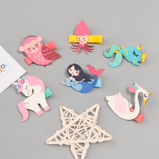 Small fresh super cute cute animal fabric hairpin children cartoon princess mermaid hairpin unicorn hairpin