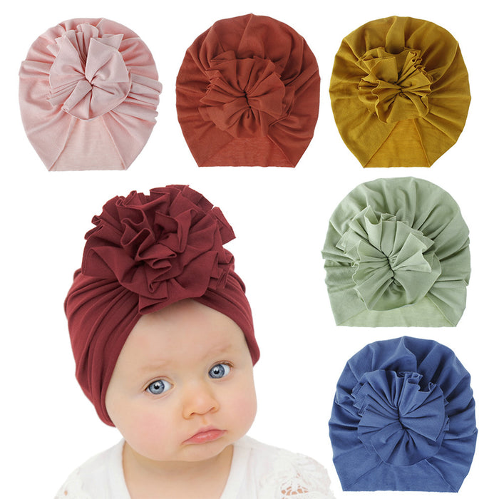 Knitted 18 - color Baby Folded Flower Cotton Cap