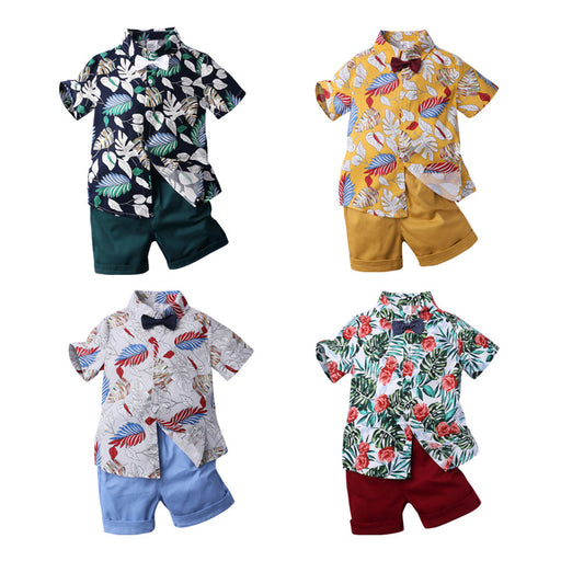 Boys short-sleeved printed shirt multicolor two-piece set