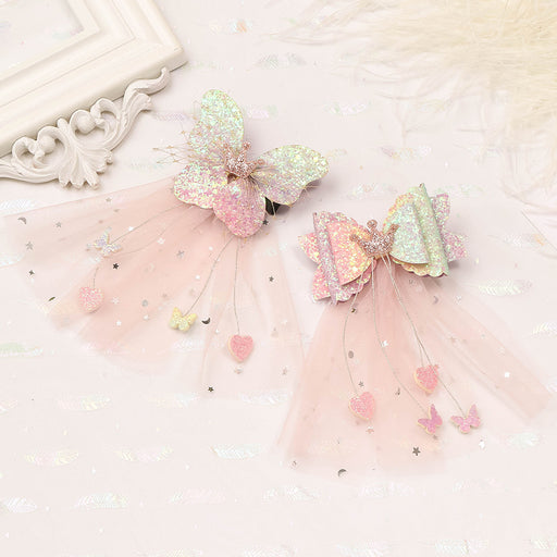 Small daisy flower hairpin streamer hairpin children mesh crown bow hairpin