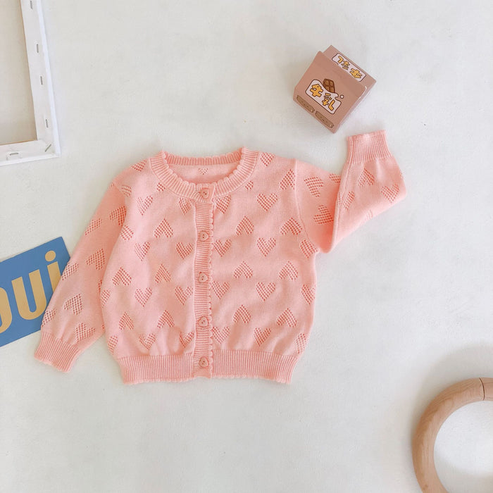 Sweet Heart Solid Color Long Sleeve Knit Hollowed-out Baby Sweater