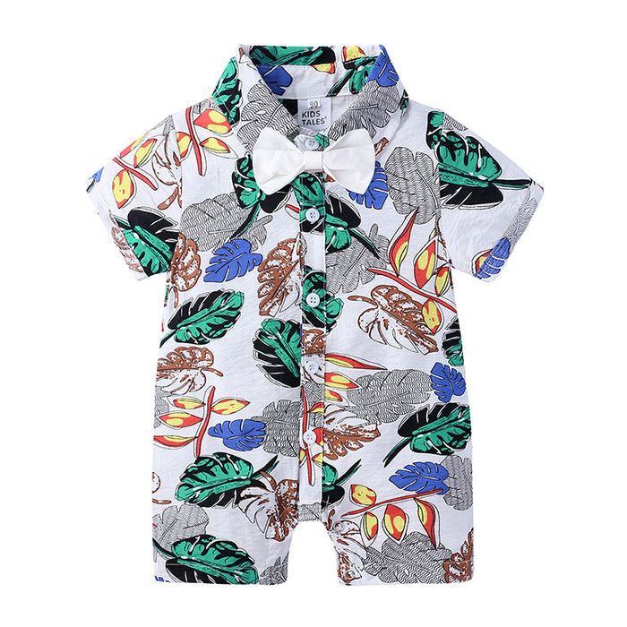 Multicolor Floral Siamese Boy Baby Boxer Romper Summer Short Sleeve Jumpsuit